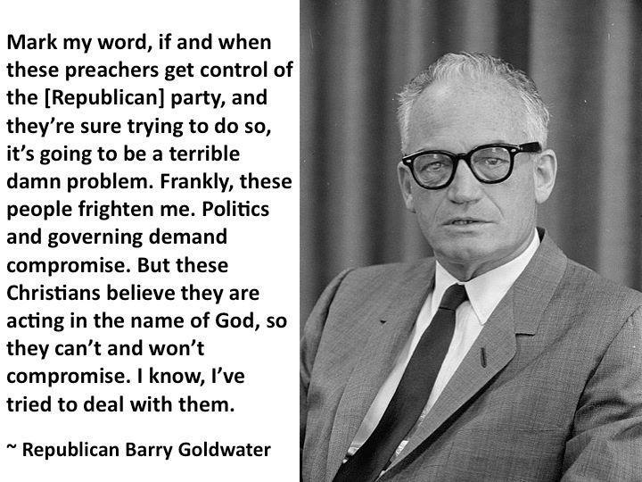 an overview of the moral issues declared by senator barry goldwater on the topic of the separation o Senator goldwater replied  barry goldwater, during his 1964 campaign  website powered by mises institute donors.