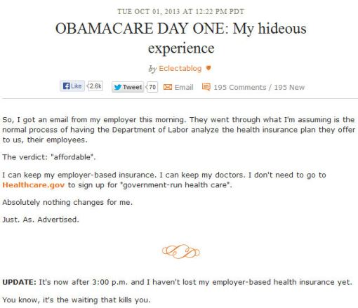 Daily Kos - Obamacare Day 1