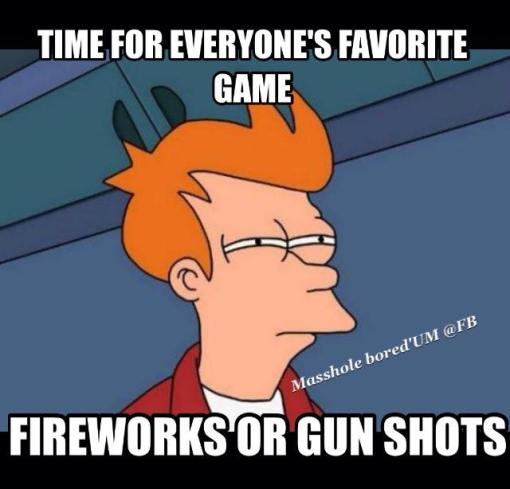 fireworks or gunshots